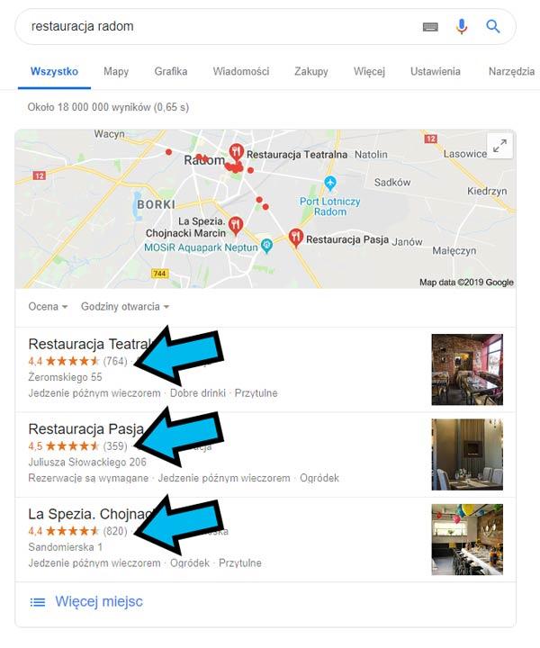 Wizytówka firmowa w Google - opinie o firmie w Google