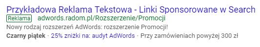 Rozszerzenie promocji AdWords